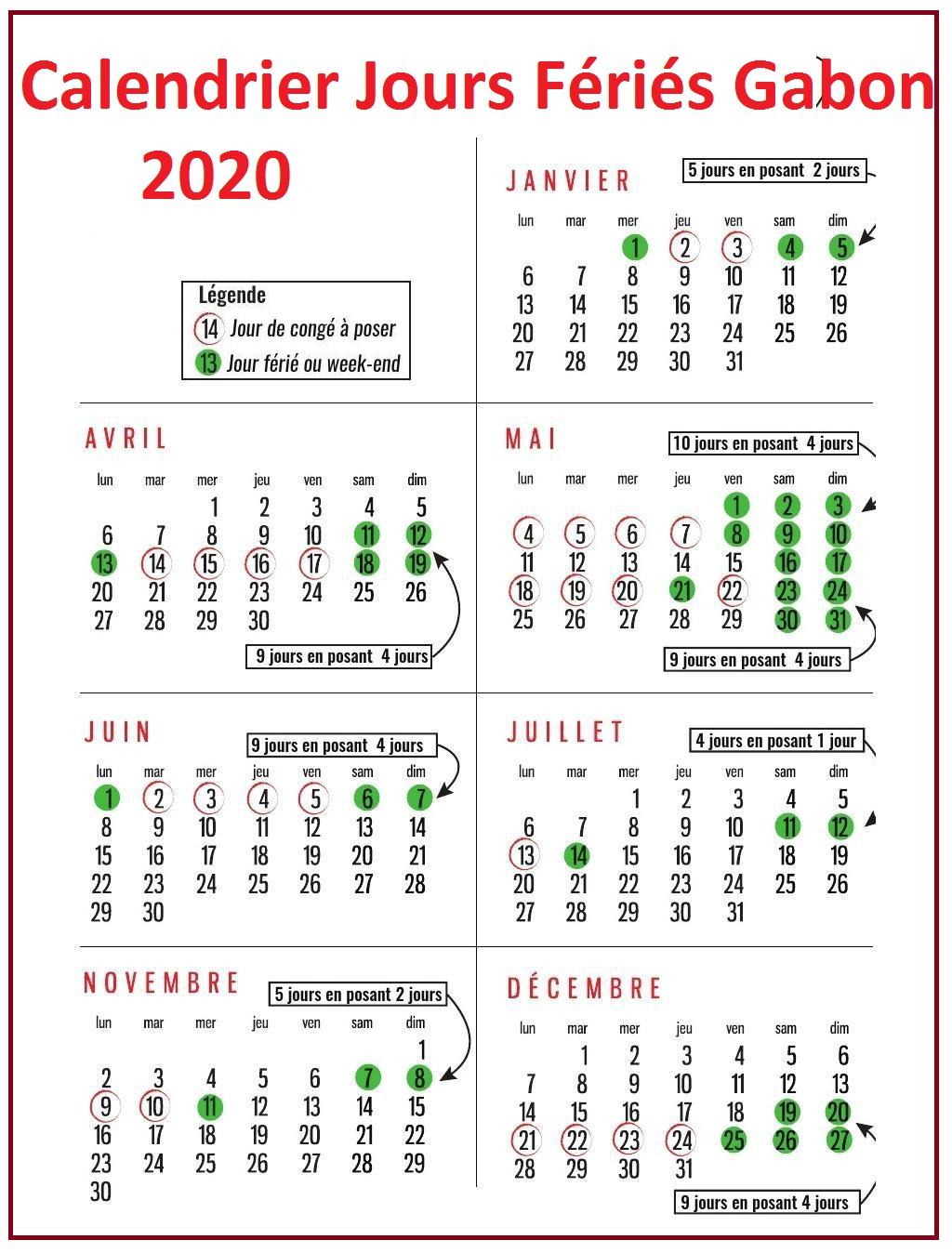 Jours Fériés Gabon 2020 Excel
