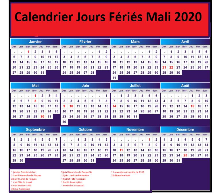 Calendrier 2020 Mali Avec Jours Fériés Pdf