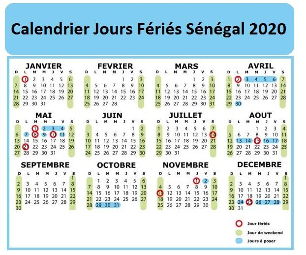 Jours Fériés Sénégal 2020 Excel