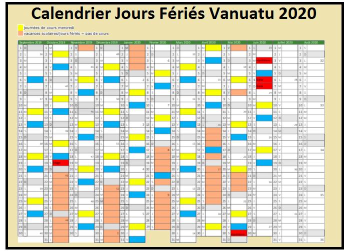 Calendrier 2020 Vanuatu Avec Jours Fériés Pdf