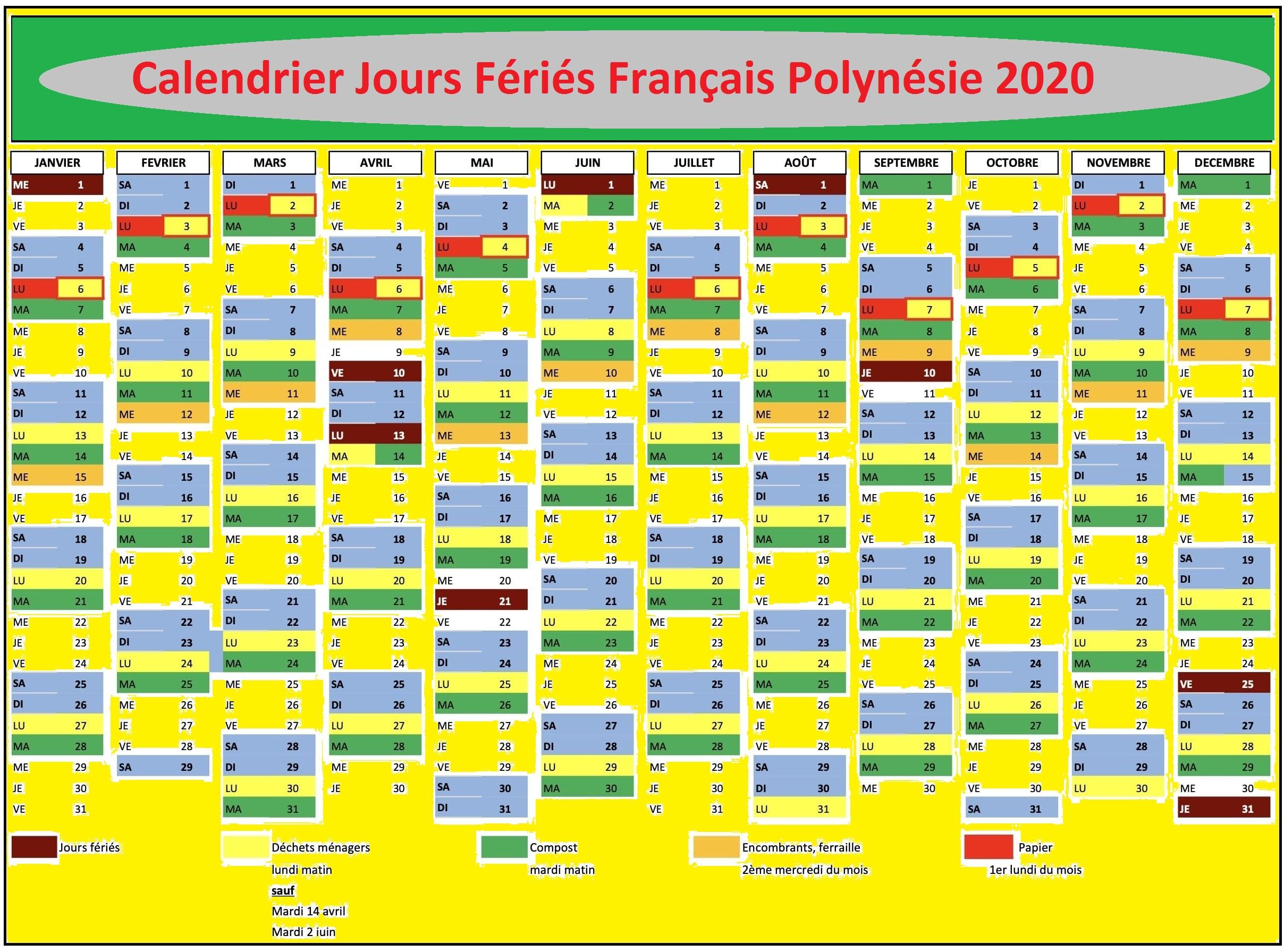 Calendrier 2020 Français Polynésie Avec Jours Fériés Pdf