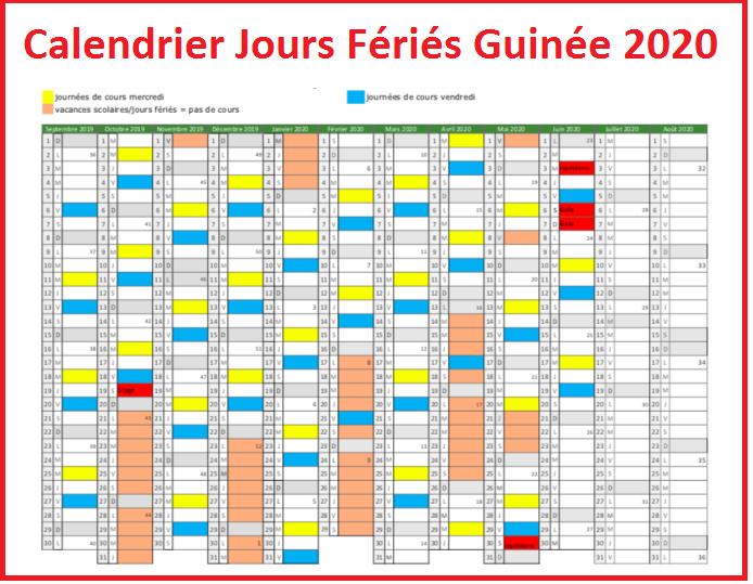 Jours Fériés Guinée Conakry 2020
