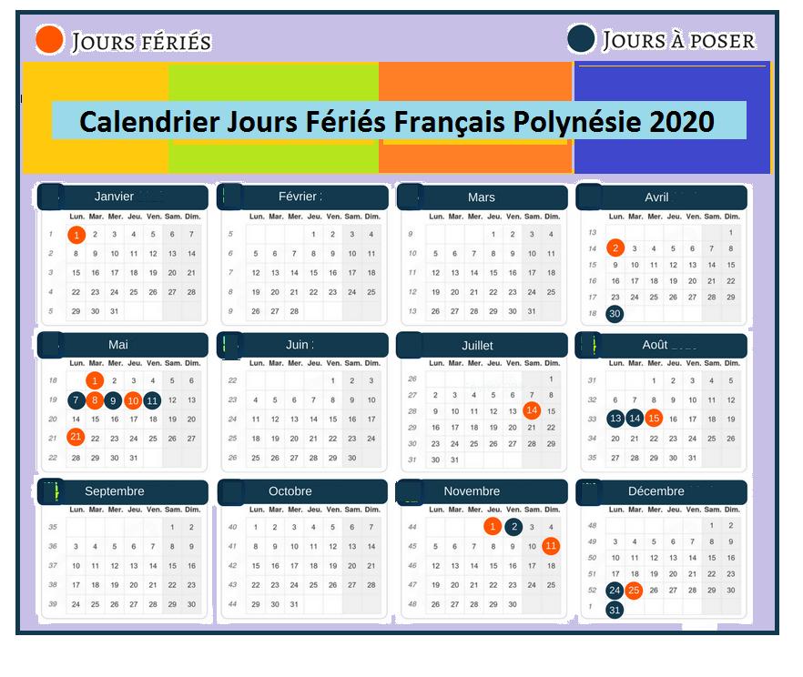 Jours Fériés Français Polynésie 2020 Excel