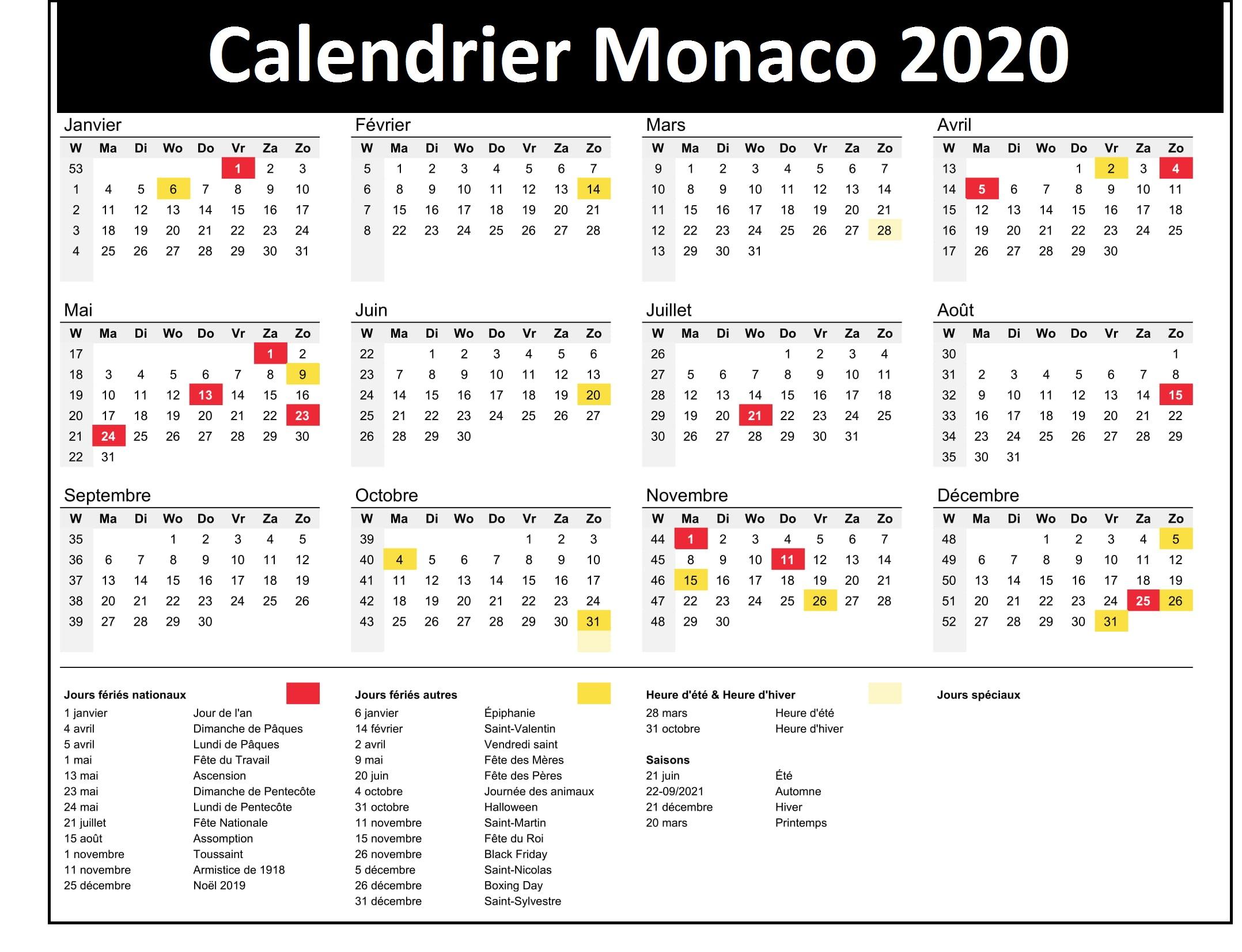 Calendrier Vacances Scolaire Monaco 2020