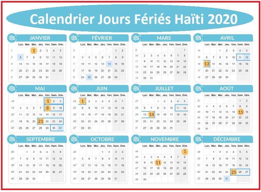 Calendrier 2020 Haïti Avec Jours Fériés Pdf