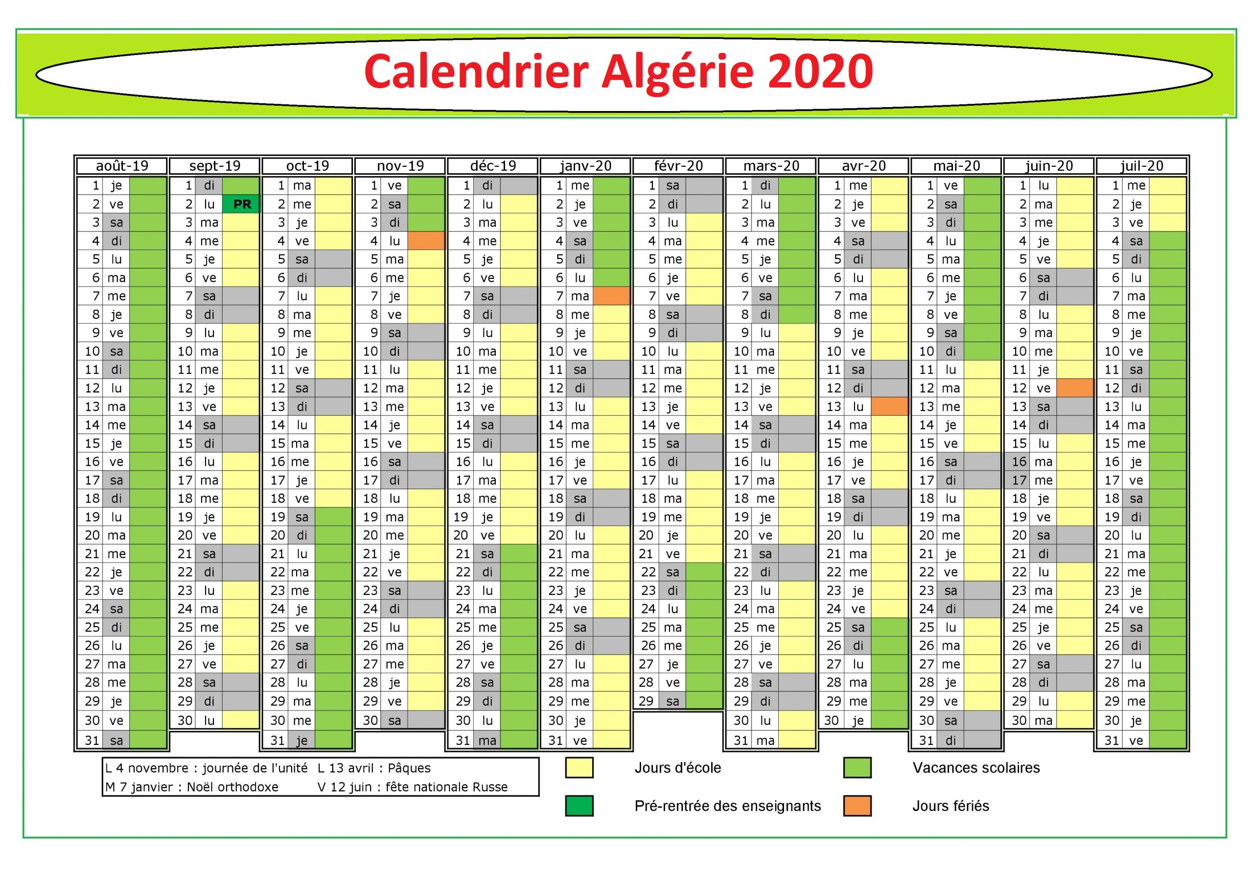 Calendrier Hijri Algérie 2020