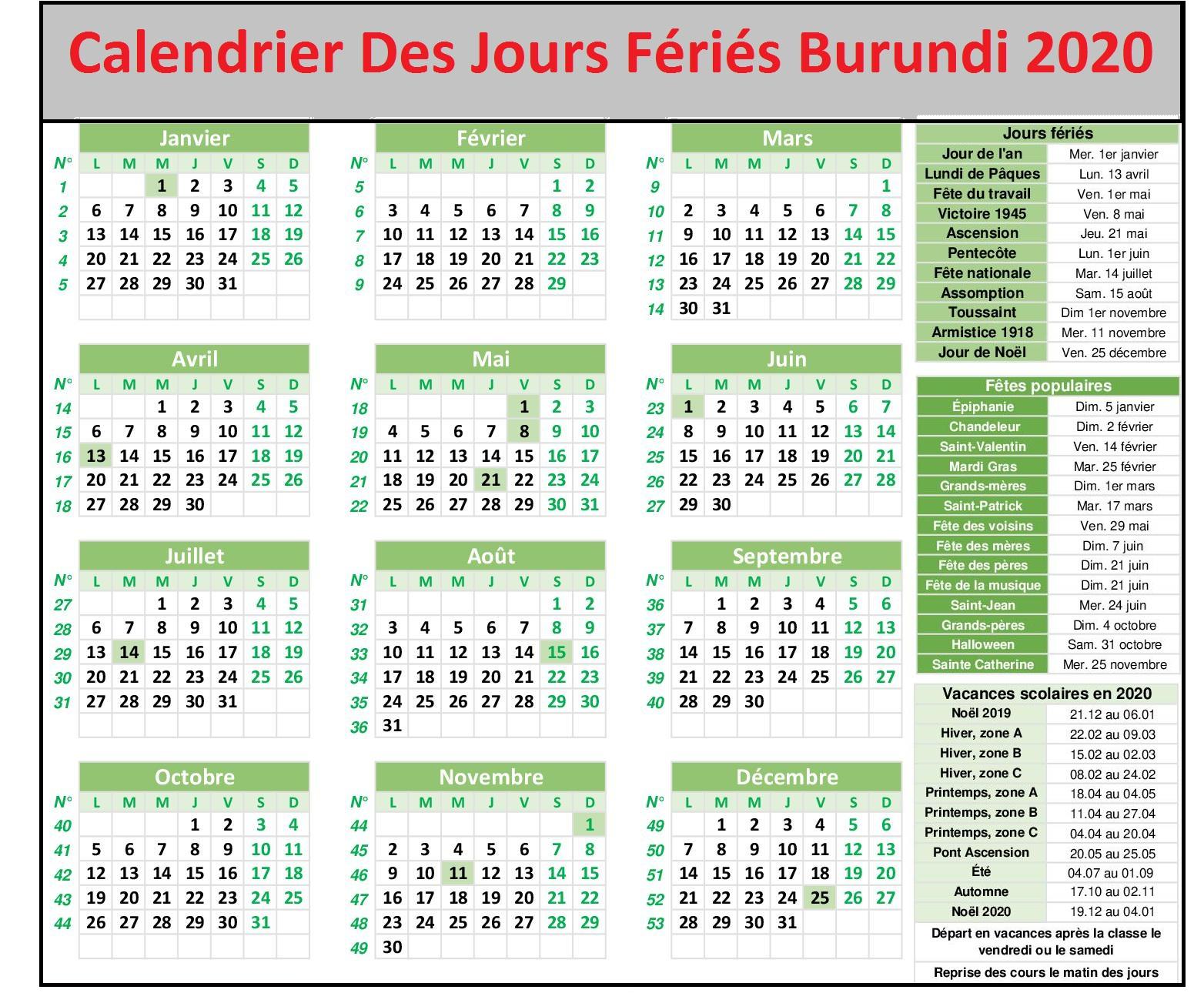 Les Jours Fériés Au Burundi 2020