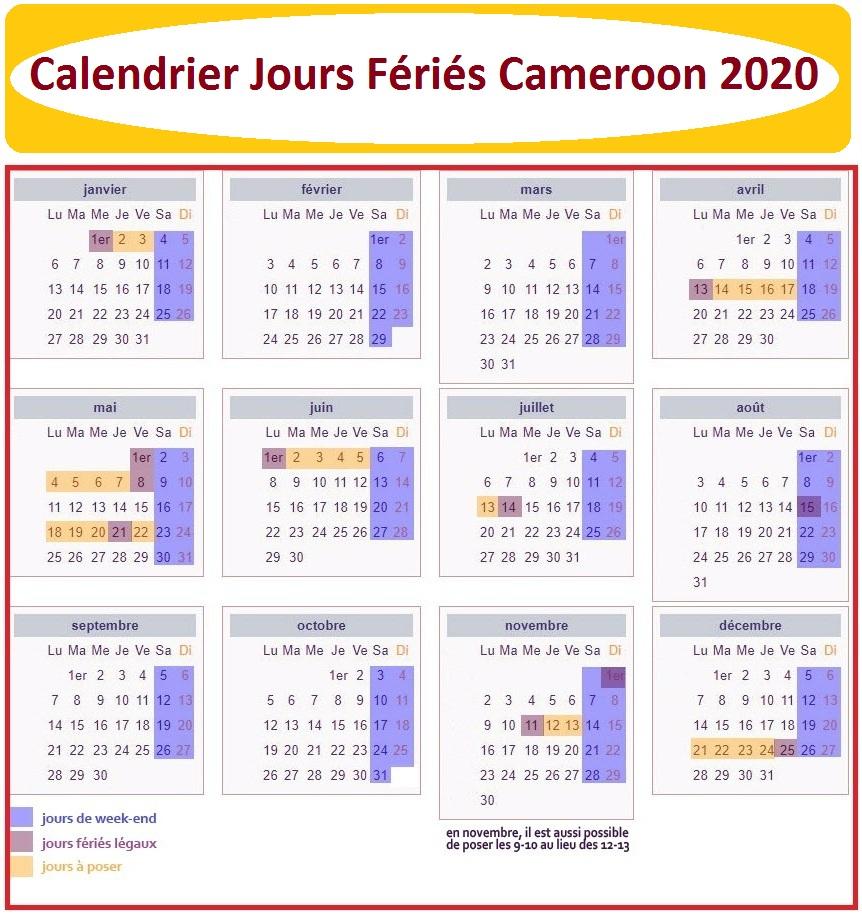 Jours Fériés Cameroun 2020 Excel