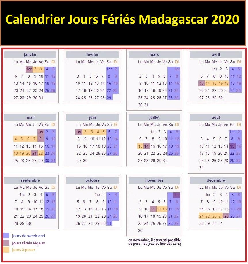 Jours Fériés Madagascar 2020 Excel