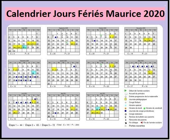 Calendrier 2020 Maurice Avec Jours Fériés Pdf