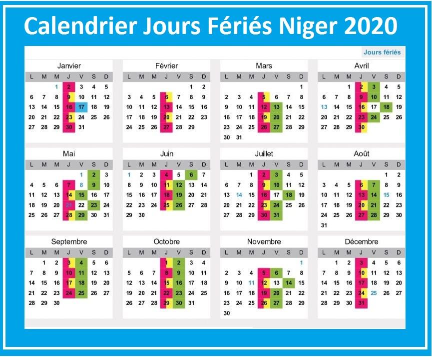 Jours Fériés Niger 2020 Excel