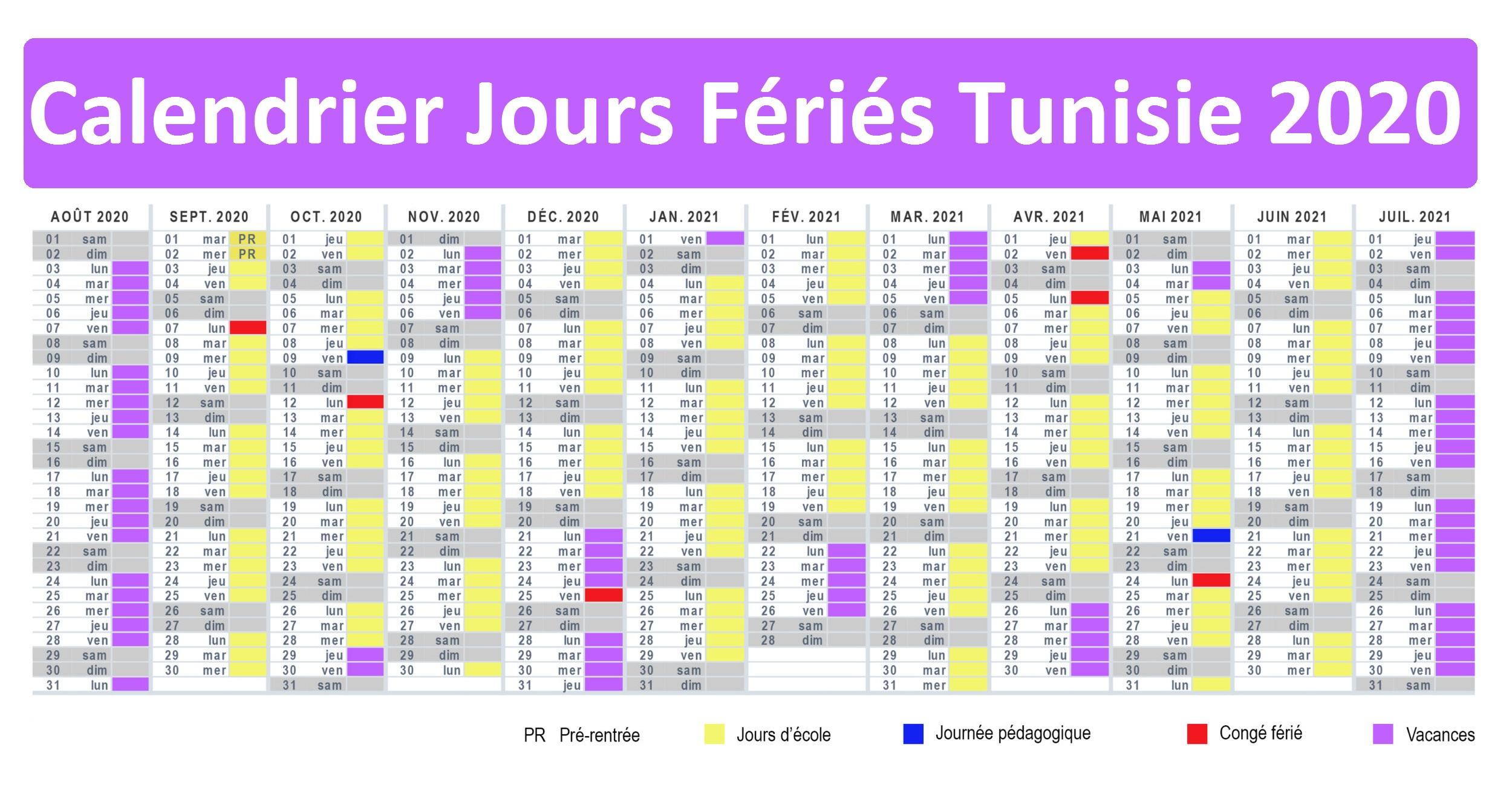 Jours Fériés Tunisie 2020 Excel