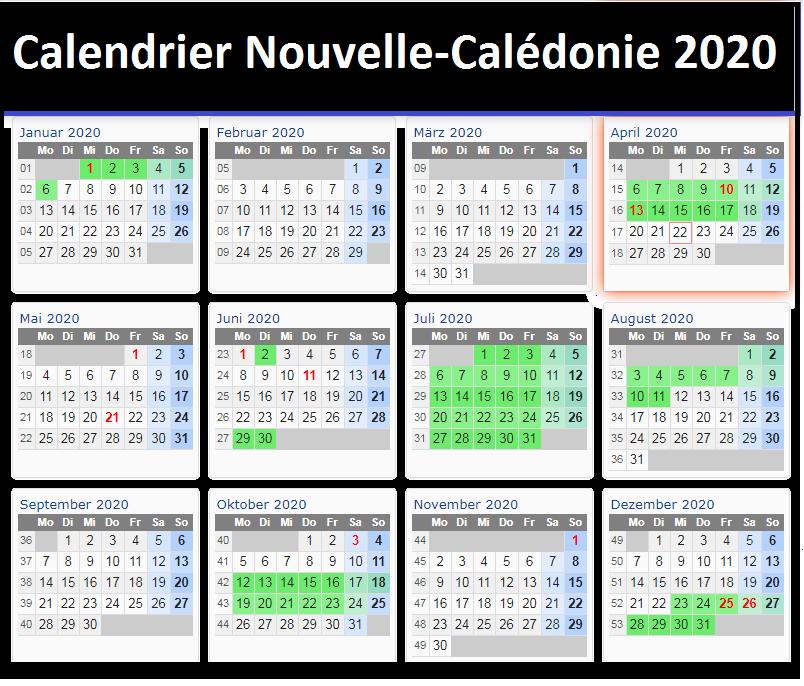 Calendrier Tail Nouvelle-Calédonie 2020