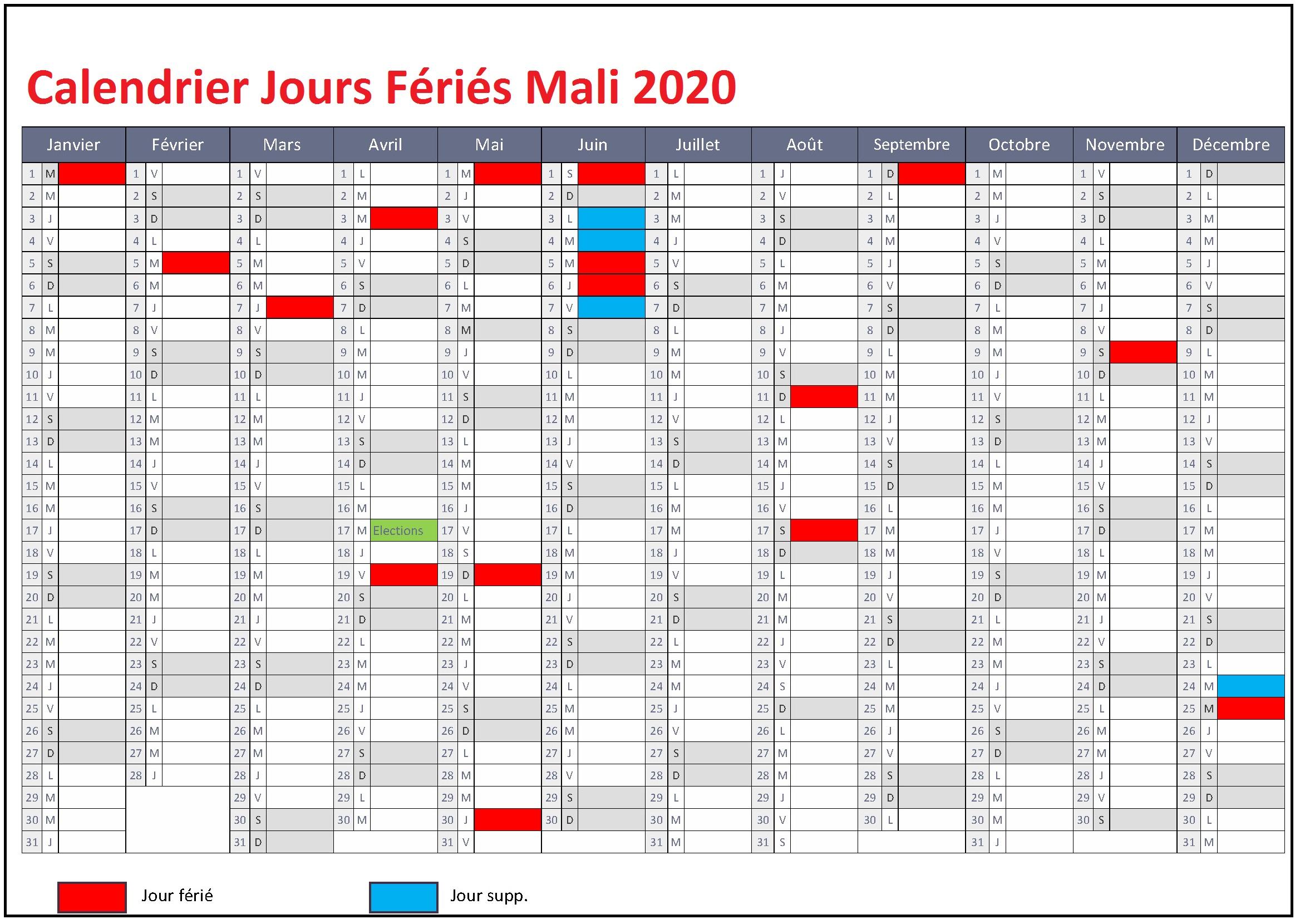 Jours Fériés Mali 2020 Excel
