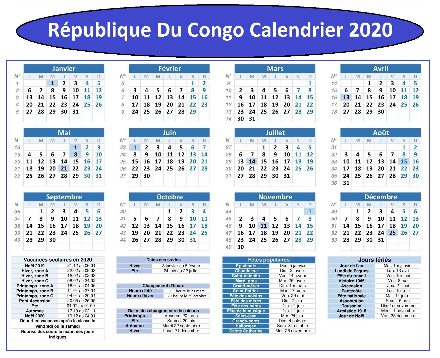 République Du Congo Vacances 2020
