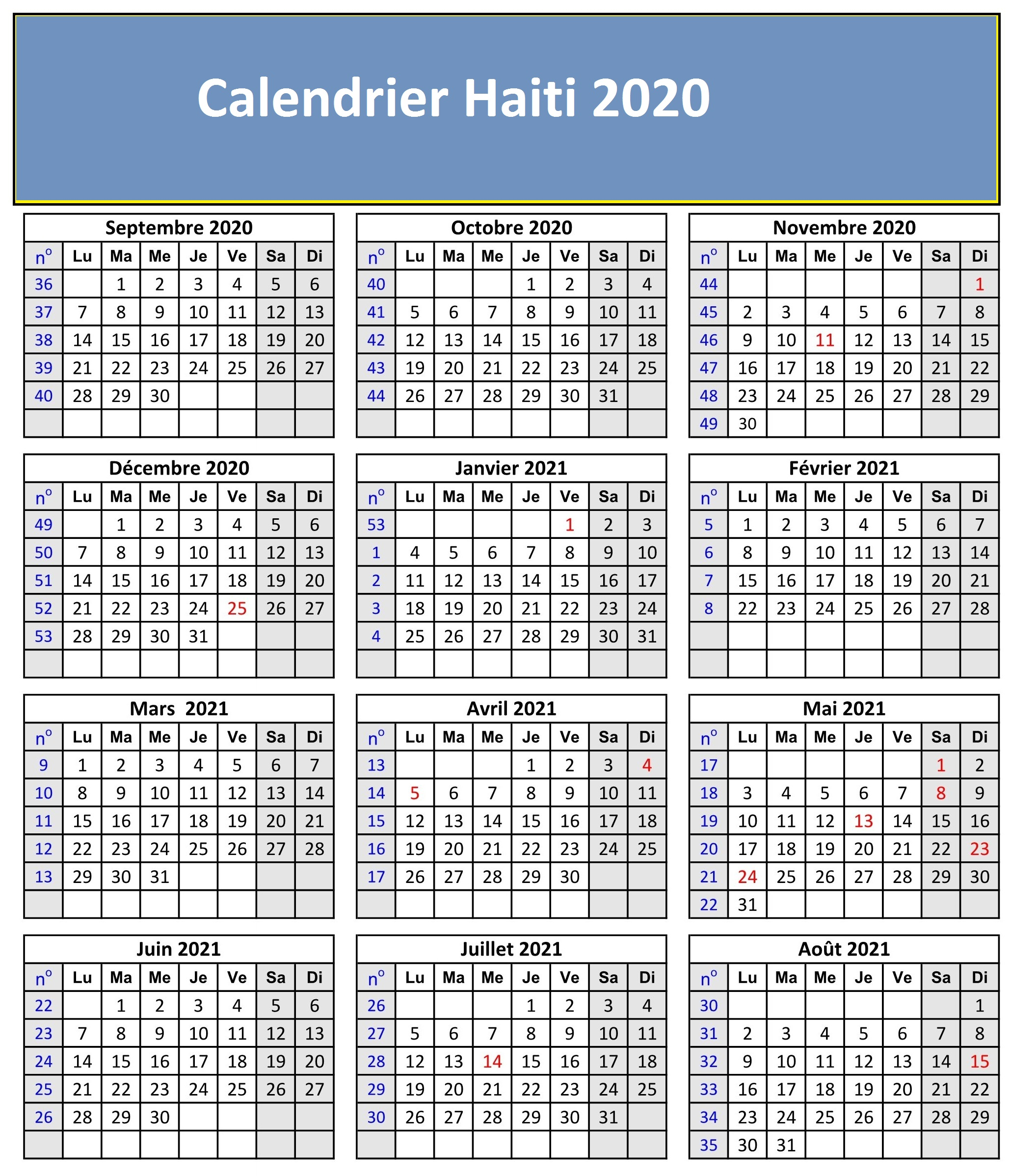 Calendrier 2020 Haiti Pdf