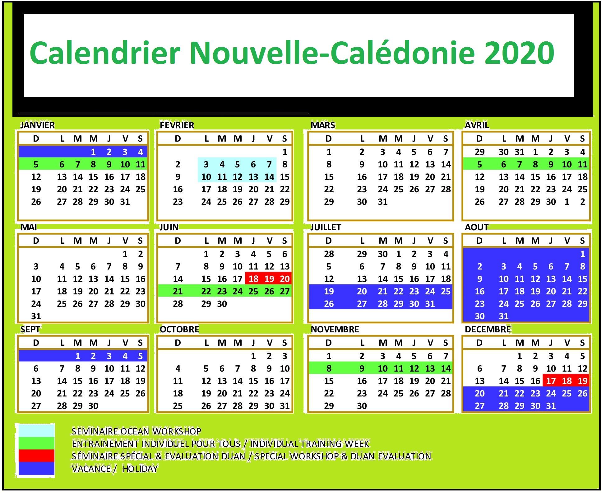 Calendrier 2020 Nouvelle-Calédonie A Imprimer
