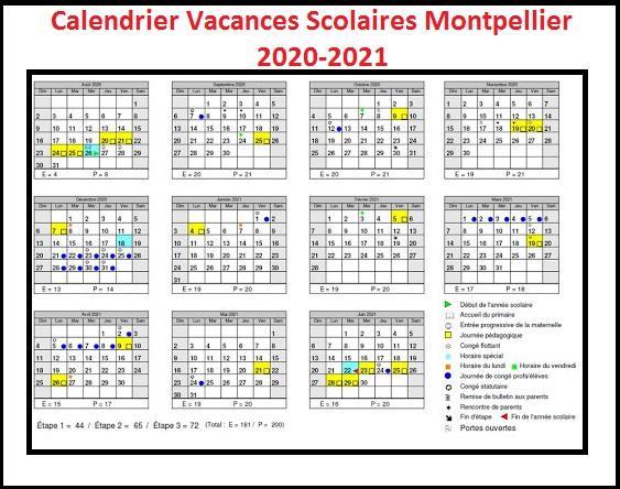 Calendrier Vacances Scolaires 2020 Academie De Montpellier