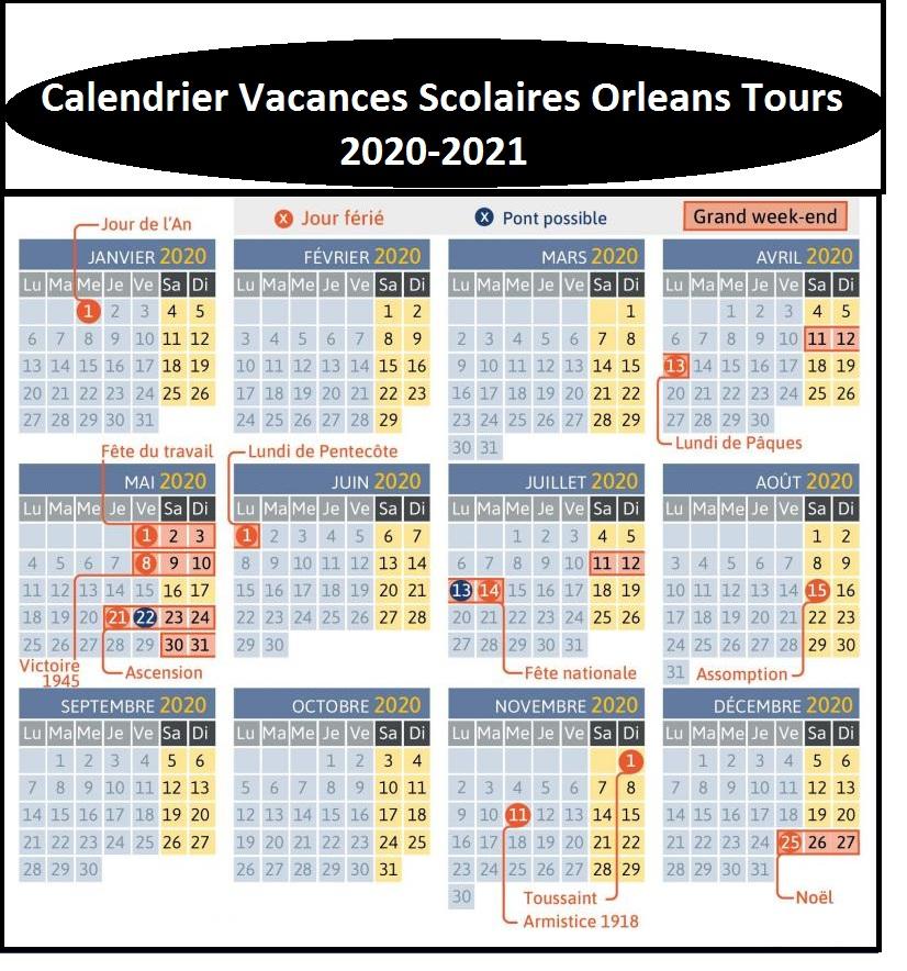 Calendrier Vacances Scolaires Orleans Tours 2020 21 Imprimer