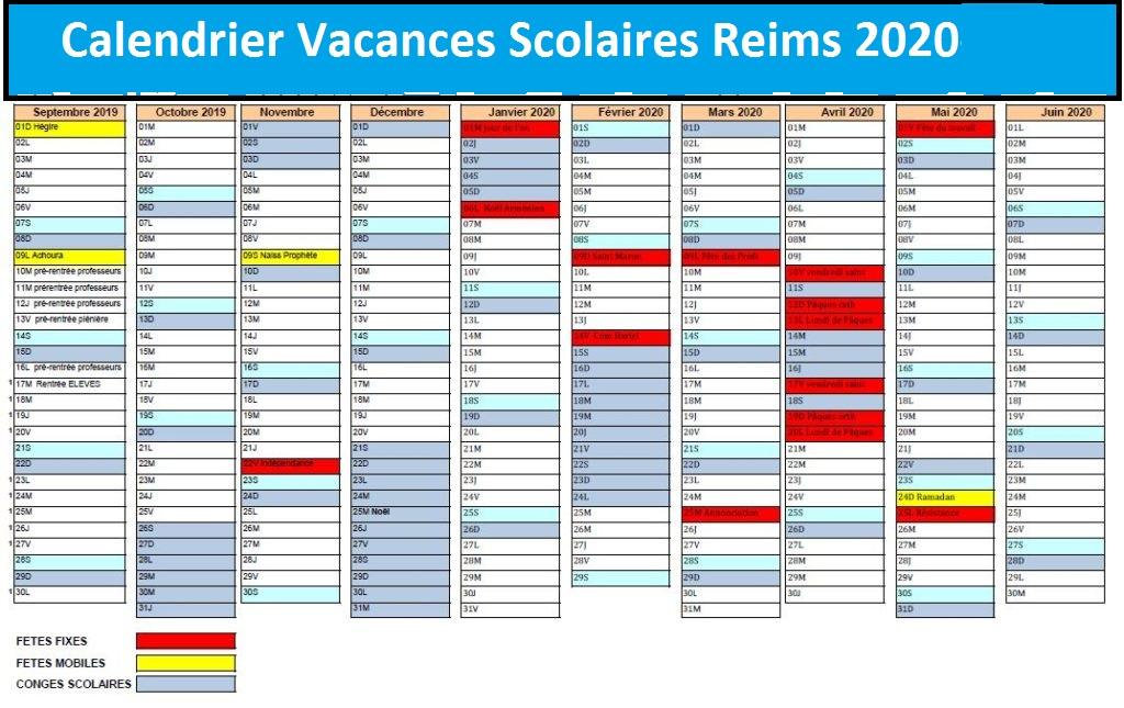 Dates Calendrier Vacances Scolaires Reims 2020