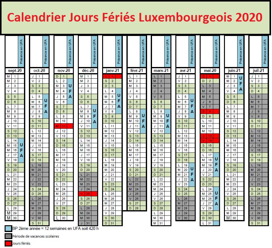 Calendrier luxembourgeois Avec Jours Fériés 2020