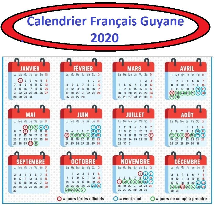 Vacances Scolaires 2019 et 2020 Français Guyane
