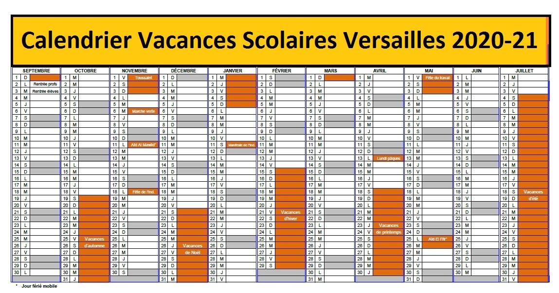 Vacances Scolaires 2019 et 2020 Versailles