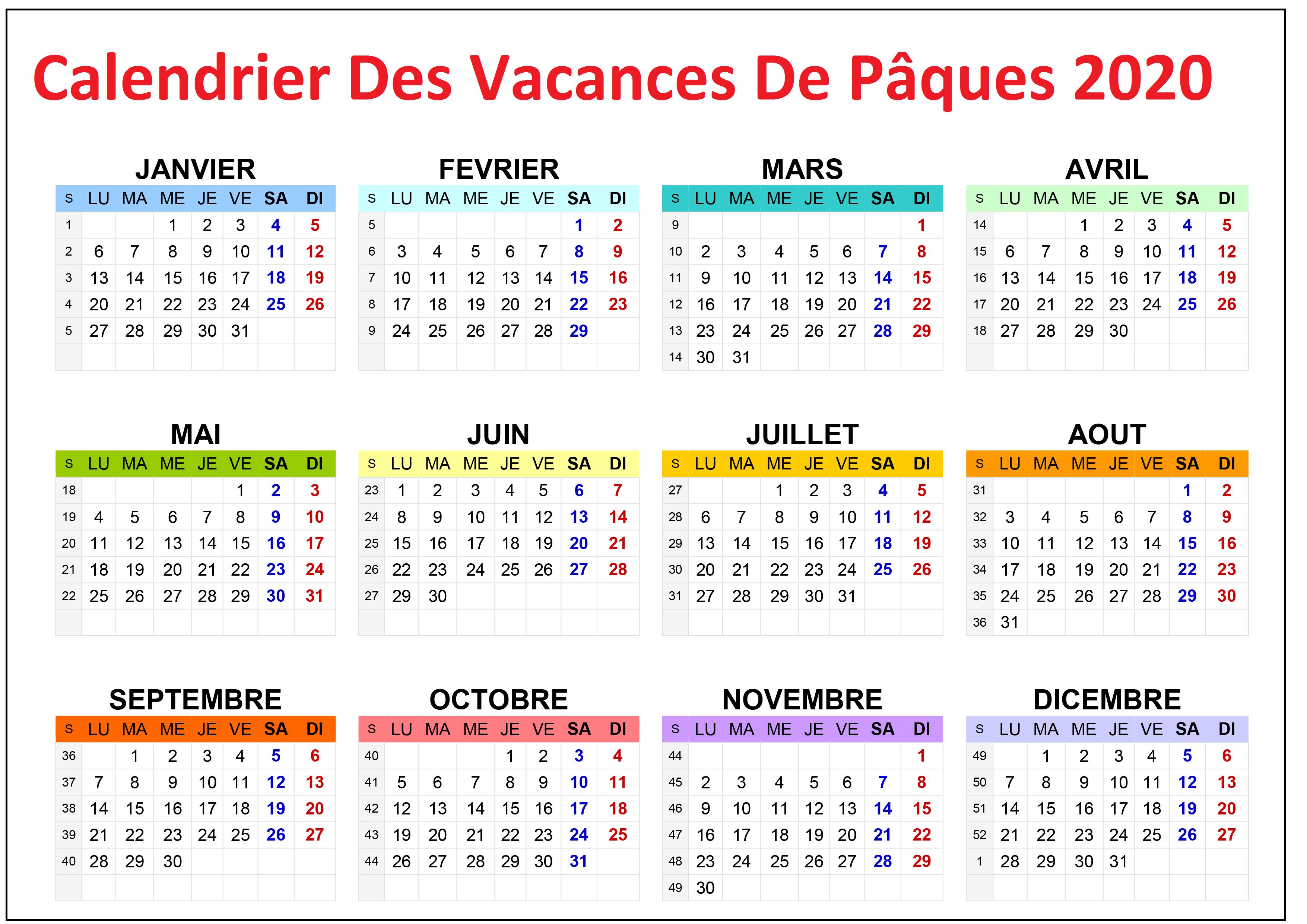 Calendrier Vacances Pâques 2020-2021 A Imprimer