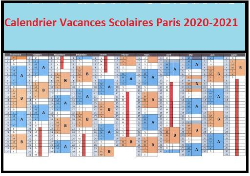 Calendrier Vacances Scolaires 2020 Zone Paris