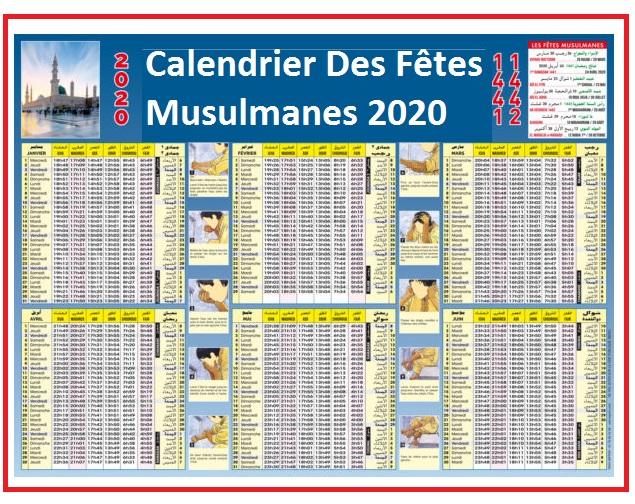 Calendrier 2020 Avec Fetes Musulmanes