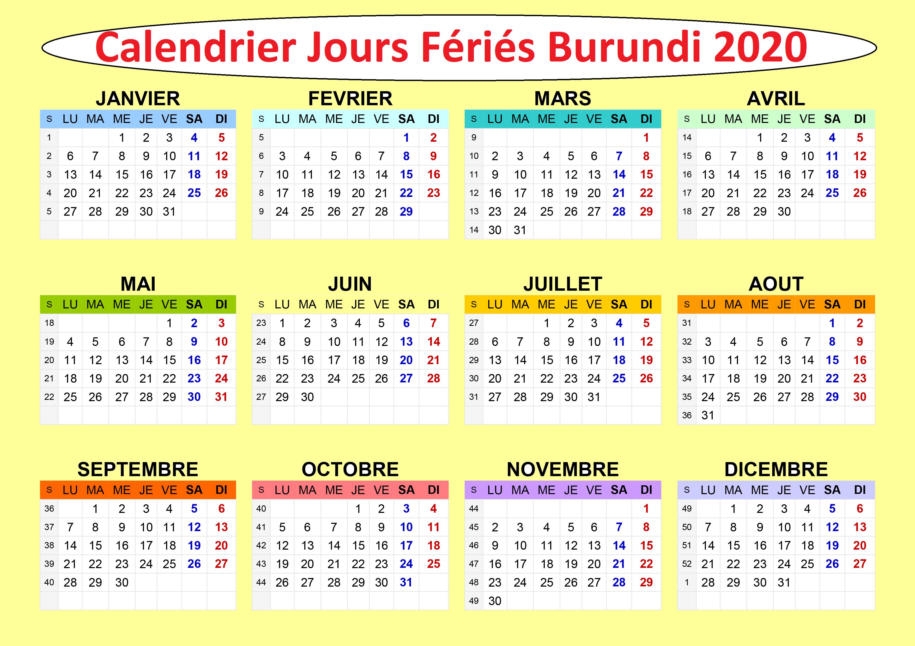 Calendrier 2020 Burundi Avec Jours Fériés A Imprimer