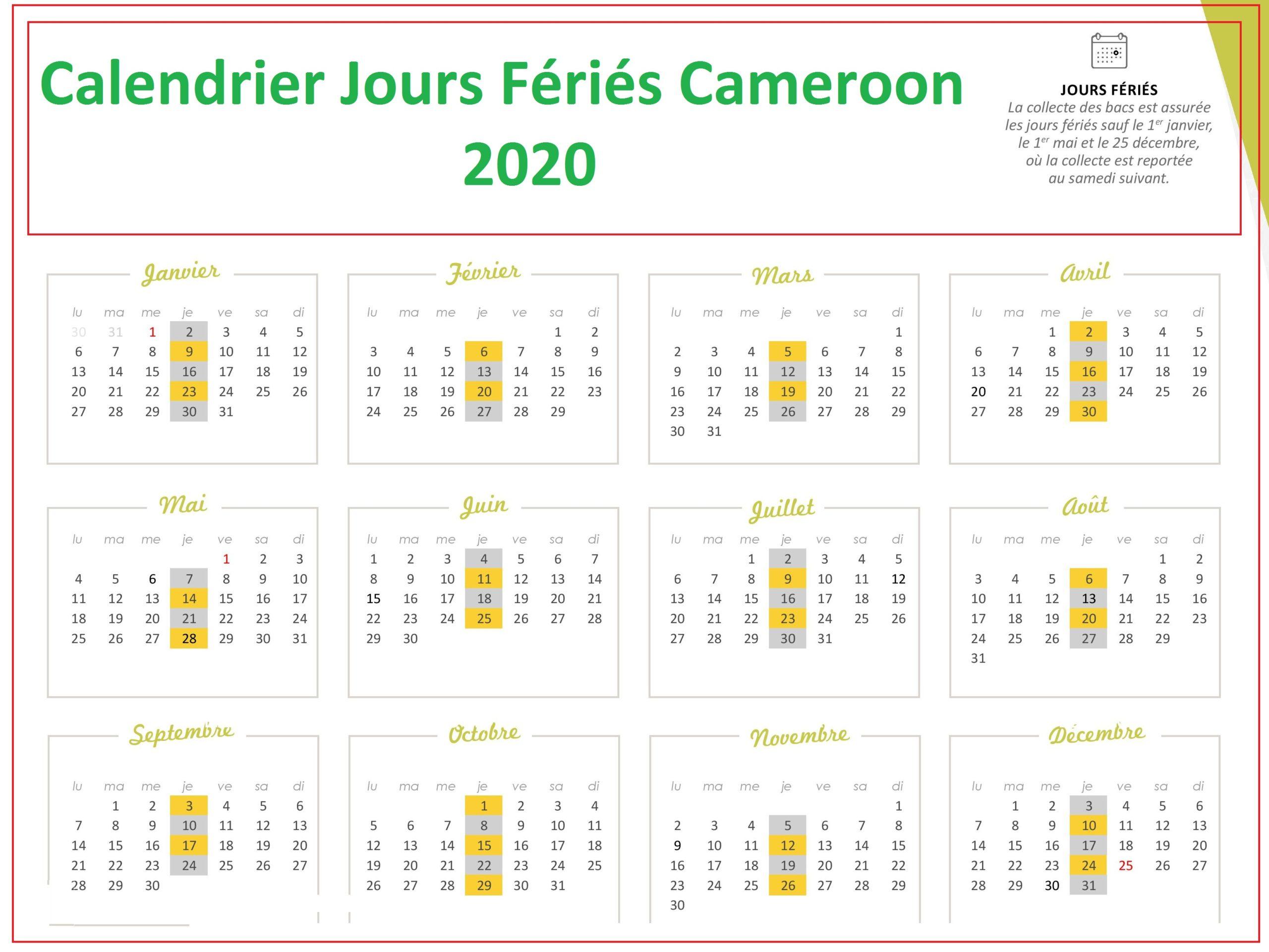 Calendrier 2020 Cameroun Avec Jours Fériés A Imprimer