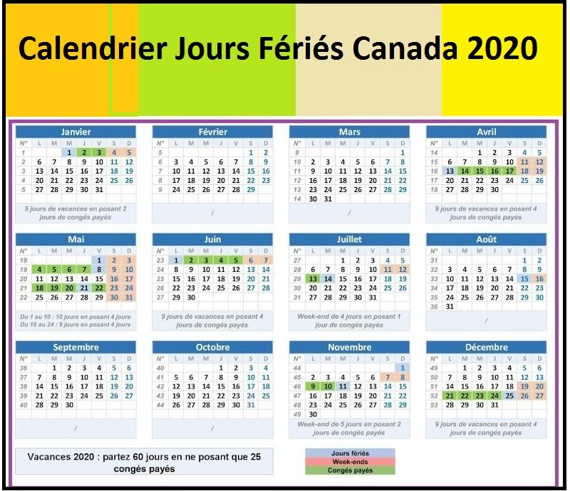 Calendrier 2020 Avec Jours Fériés Canada