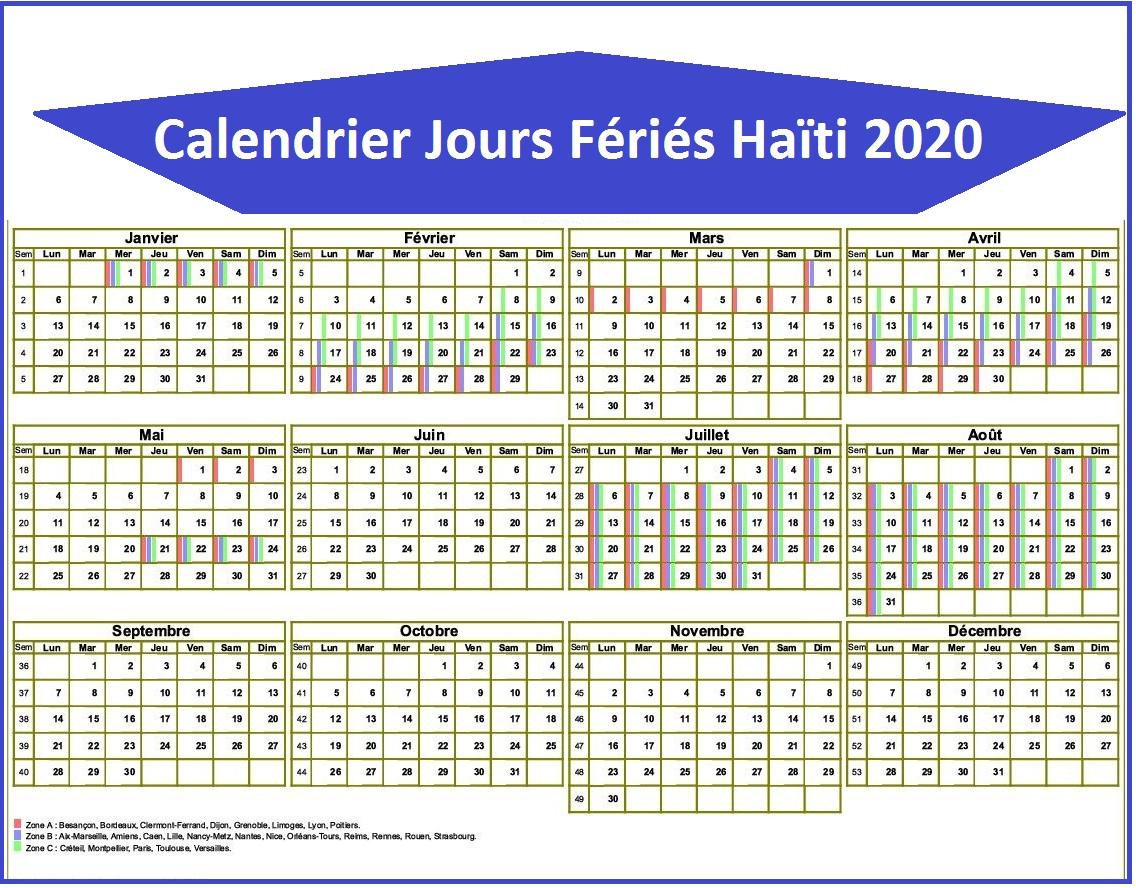 Calendrier Haïti Avec Jours Fériés 2020