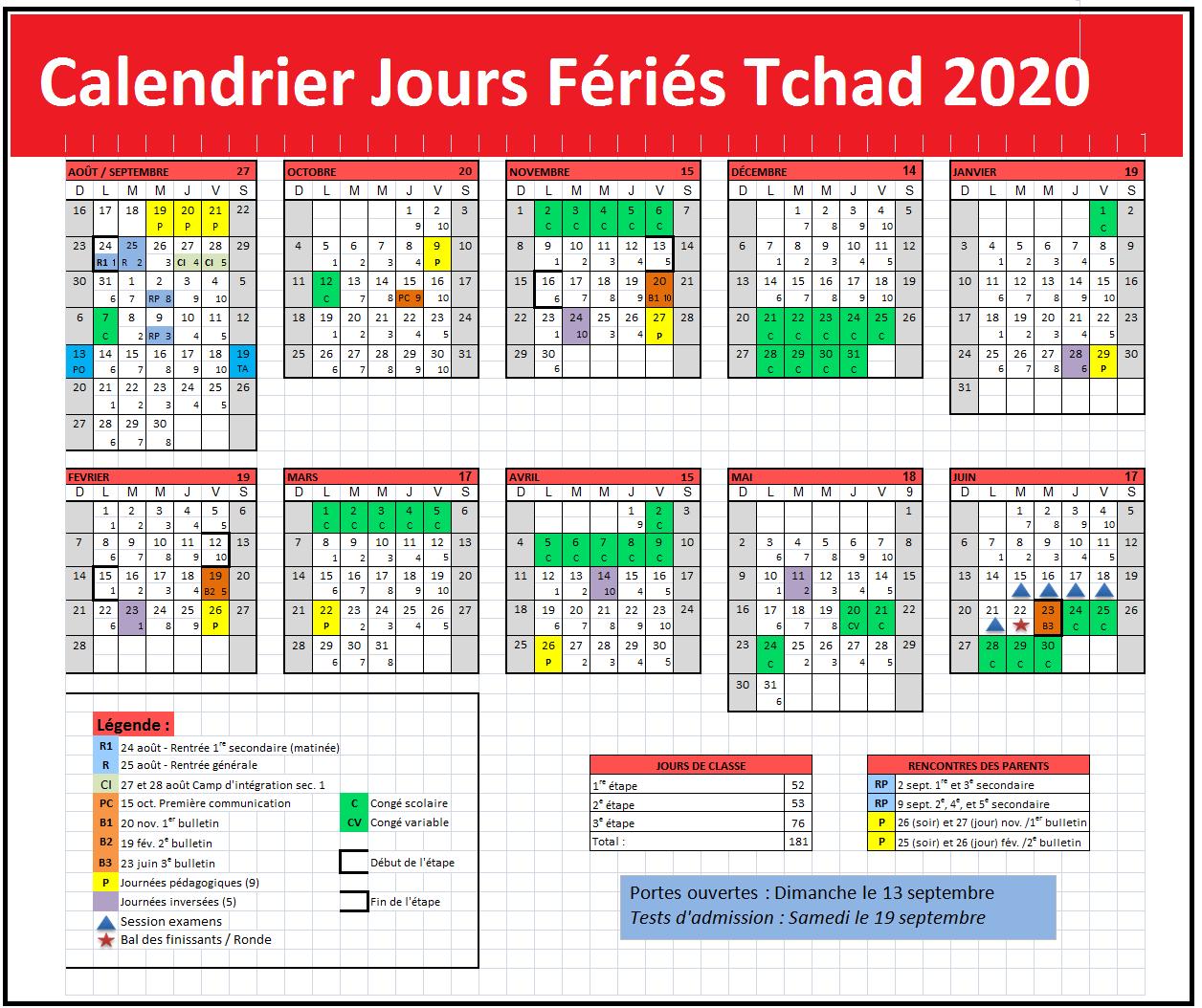 Calendrier Jours Feries Tchad 2020 Et 2021