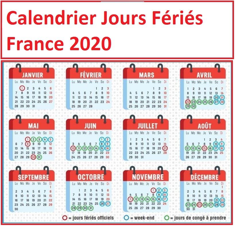Jours Feries France 2020 Non Tavailles