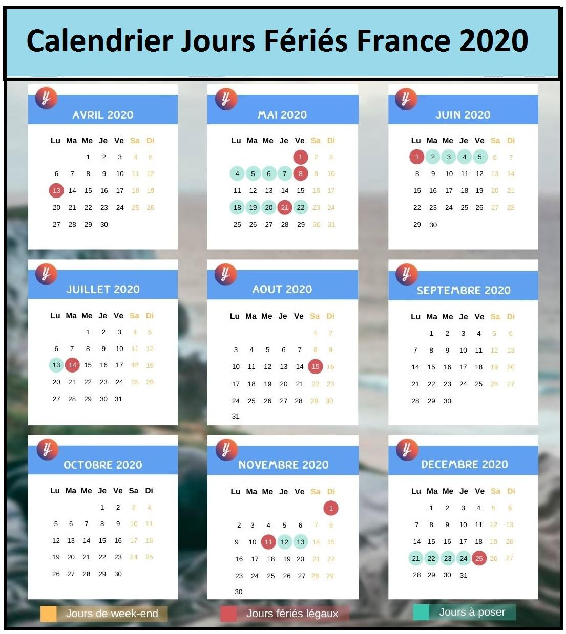 Calendrier 2020 Avec Jours Feries France