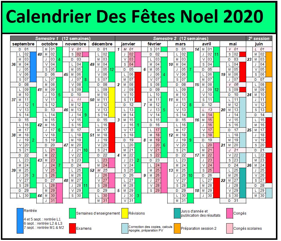 Calendrier Vacances Noël 2020-2021 A Imprimer