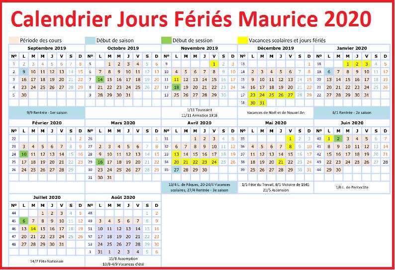 Jours Fériés Maurice 2020 Excel