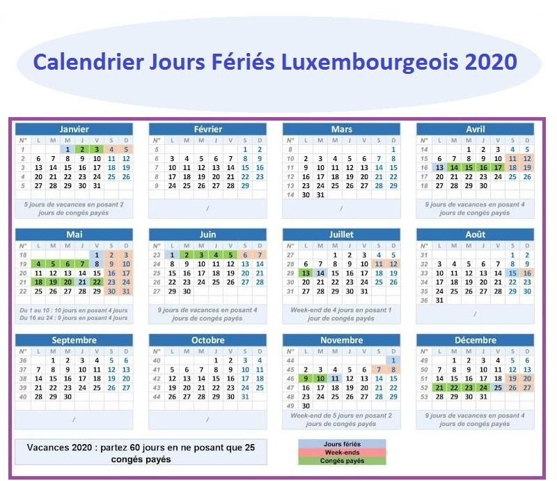 Jours Fériés luxembourgeois 2020 Fonction Publique