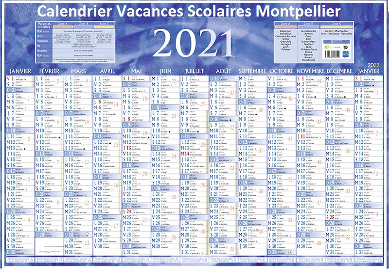 Montpellier Calendrier scolaire 2020-2021 à Imprimer