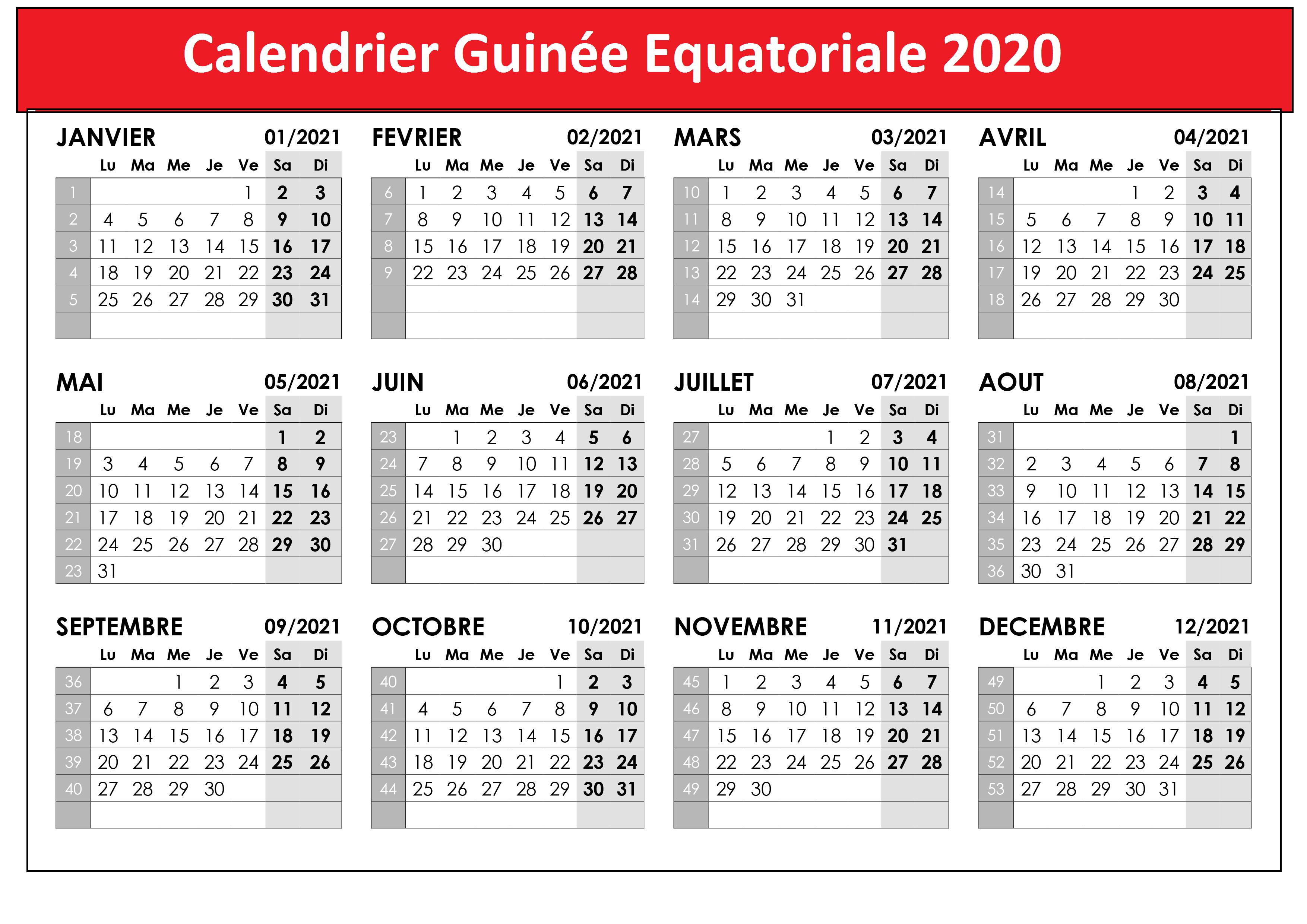 Calendrier Des Vacances Guinée équatoriale 2020