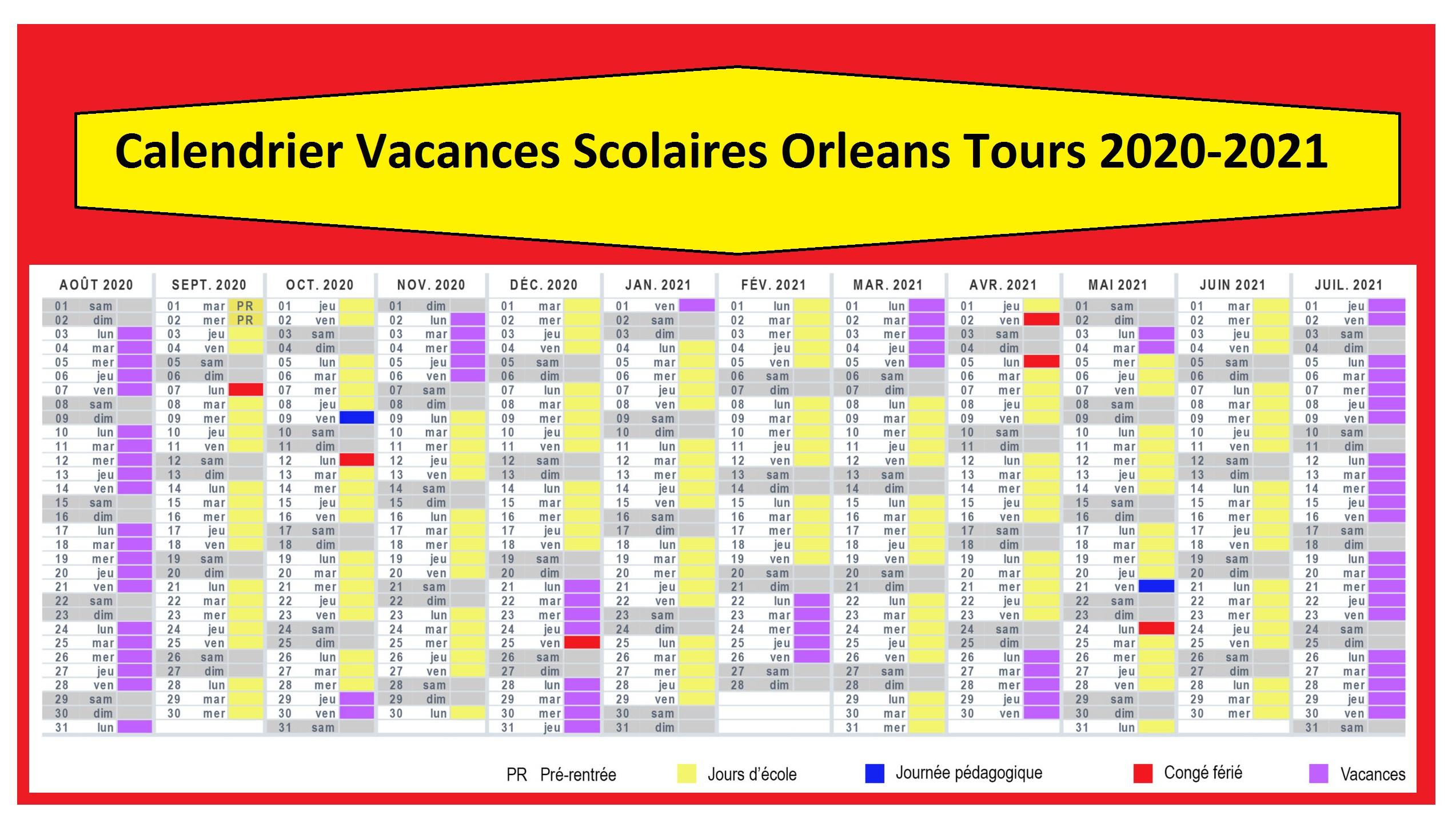 Dates Des Calendrier Vacances Scolaires Orleans Tours 2020