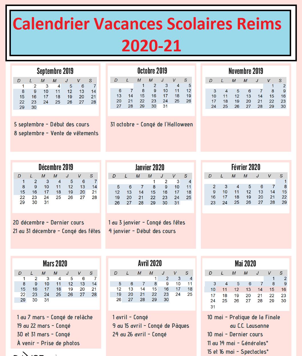 Vacances Scolaires 2019 et 2020 Reims