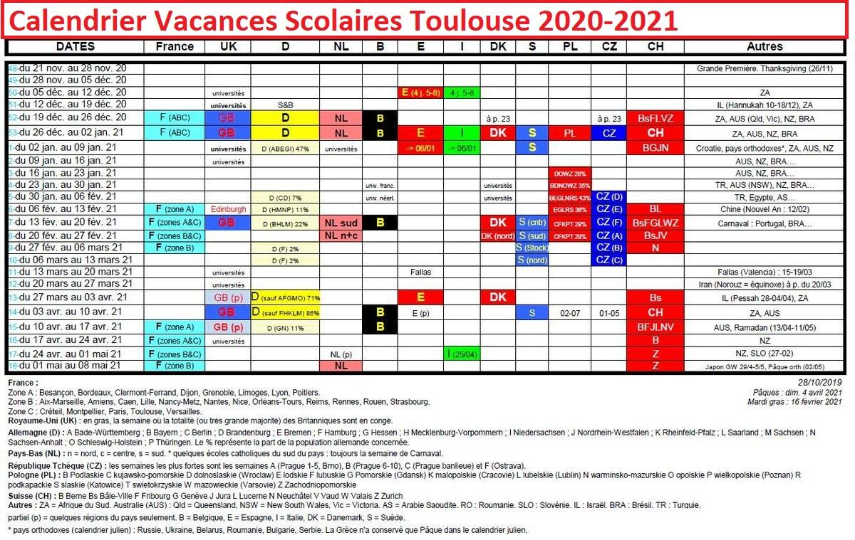 Calendrier Vacances Scolaires Academie De Toulouse 2020 21 Excel