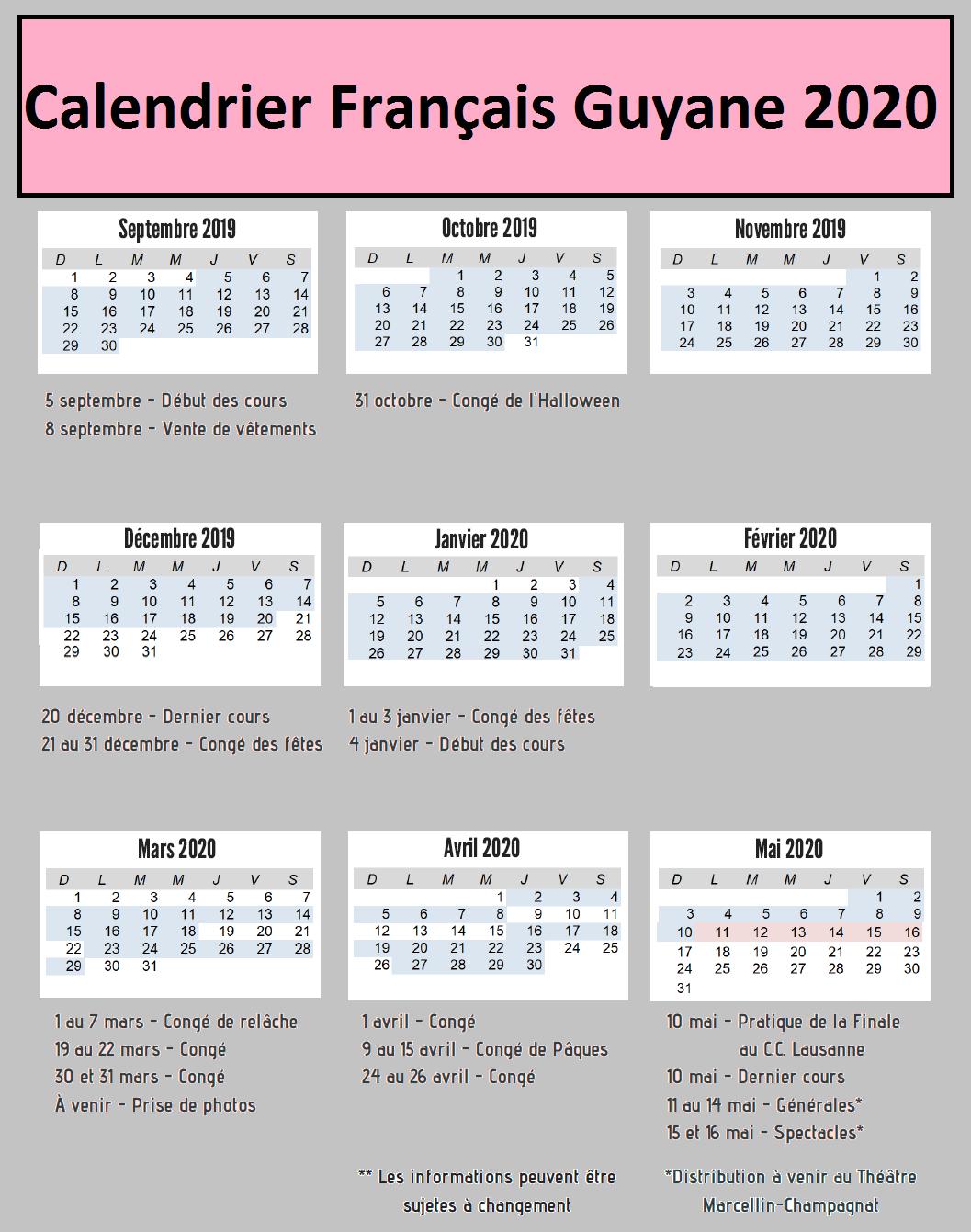 Dates Calendrier Vacances Scolaires Français Guyane 2020