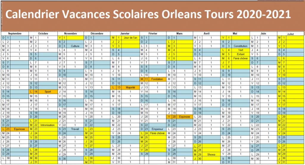 Orleans Tours Calendrier scolaire 2020-2021 à Imprimer