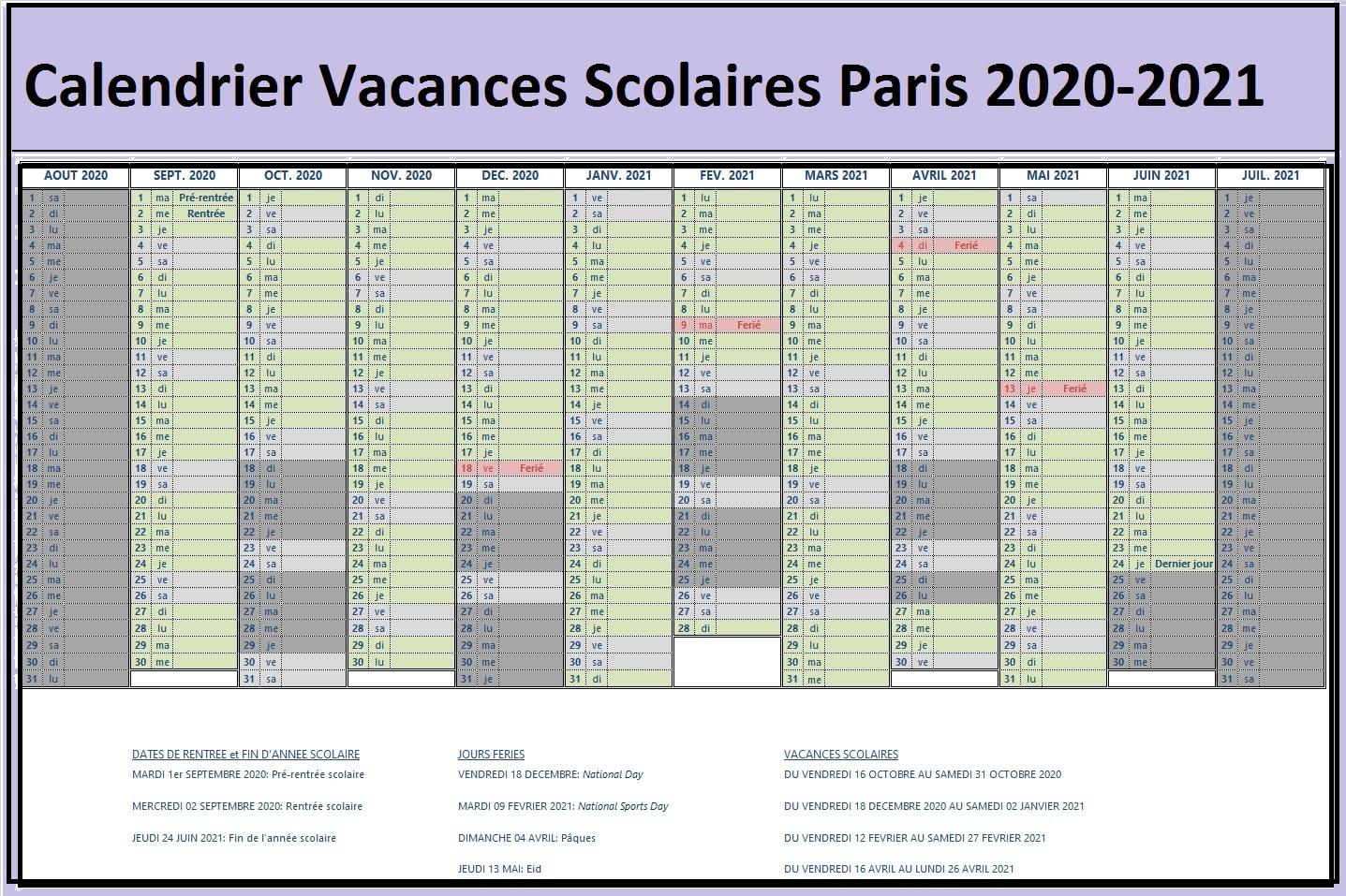 Vacances Scolaires 2019 et 2020 Paris