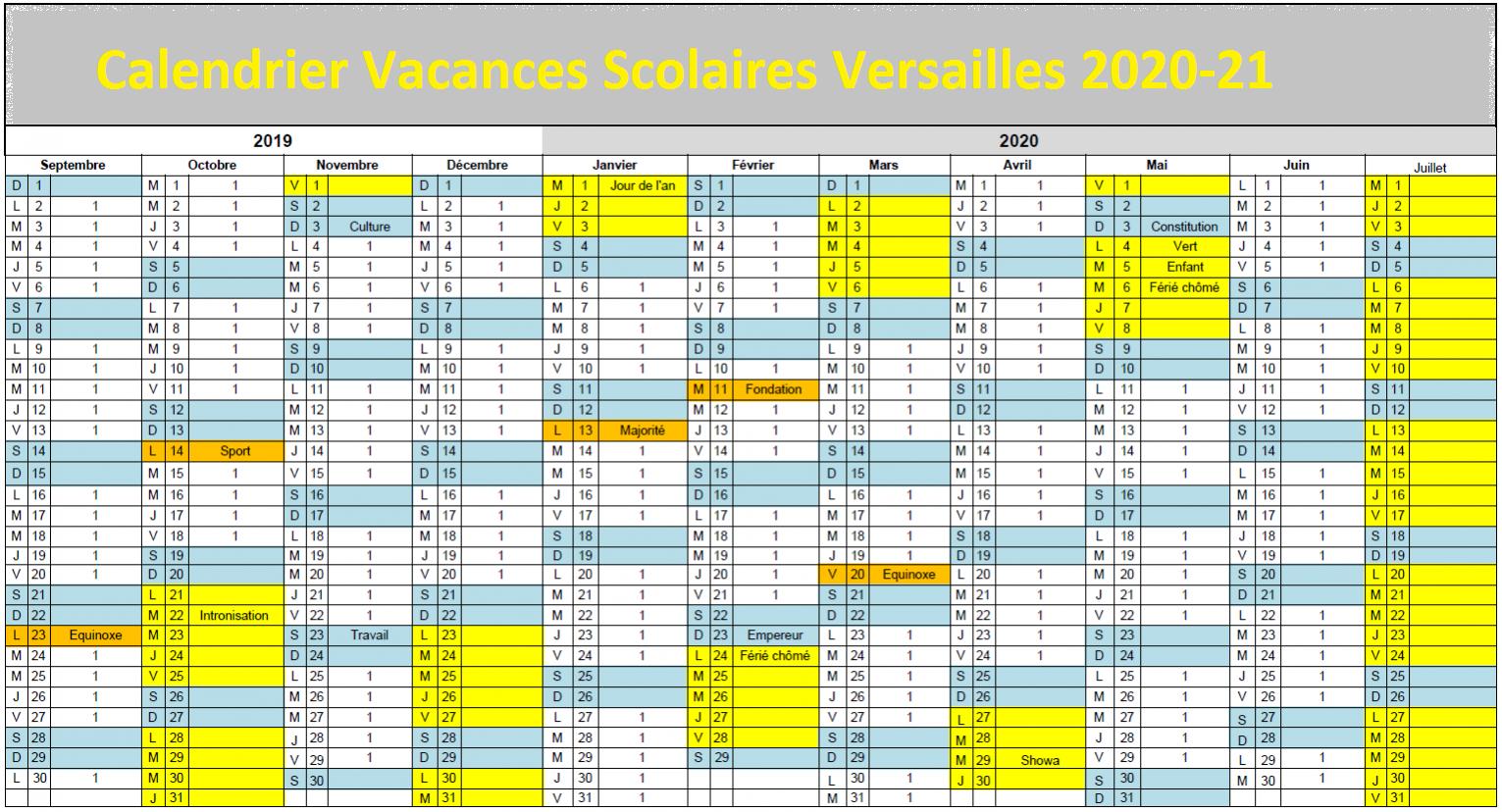 Versailles Calendrier scolaire 2020-2021 à Imprimer