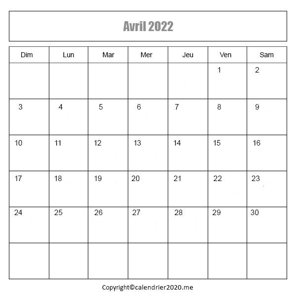 Calendrier Avril 2022 à imprimer PDF